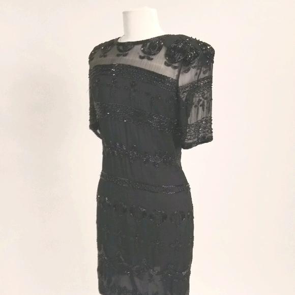 Vintage Black Beaded Sheath Shimmy Dress